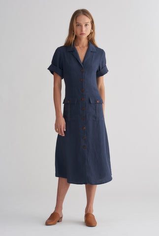0f906bf2007 Womens Pocket Shirt Dress - Navy ...