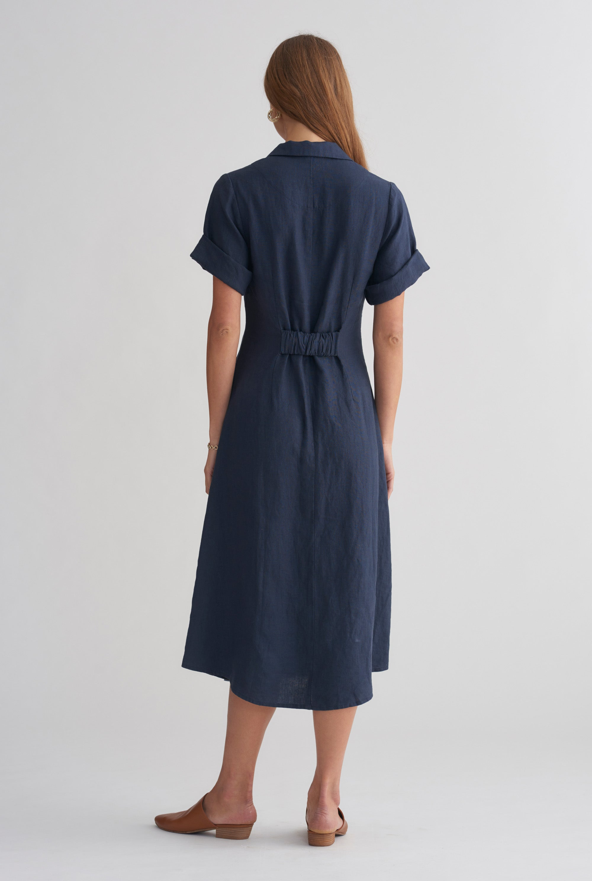 Pocket Shirt Dress - Navy