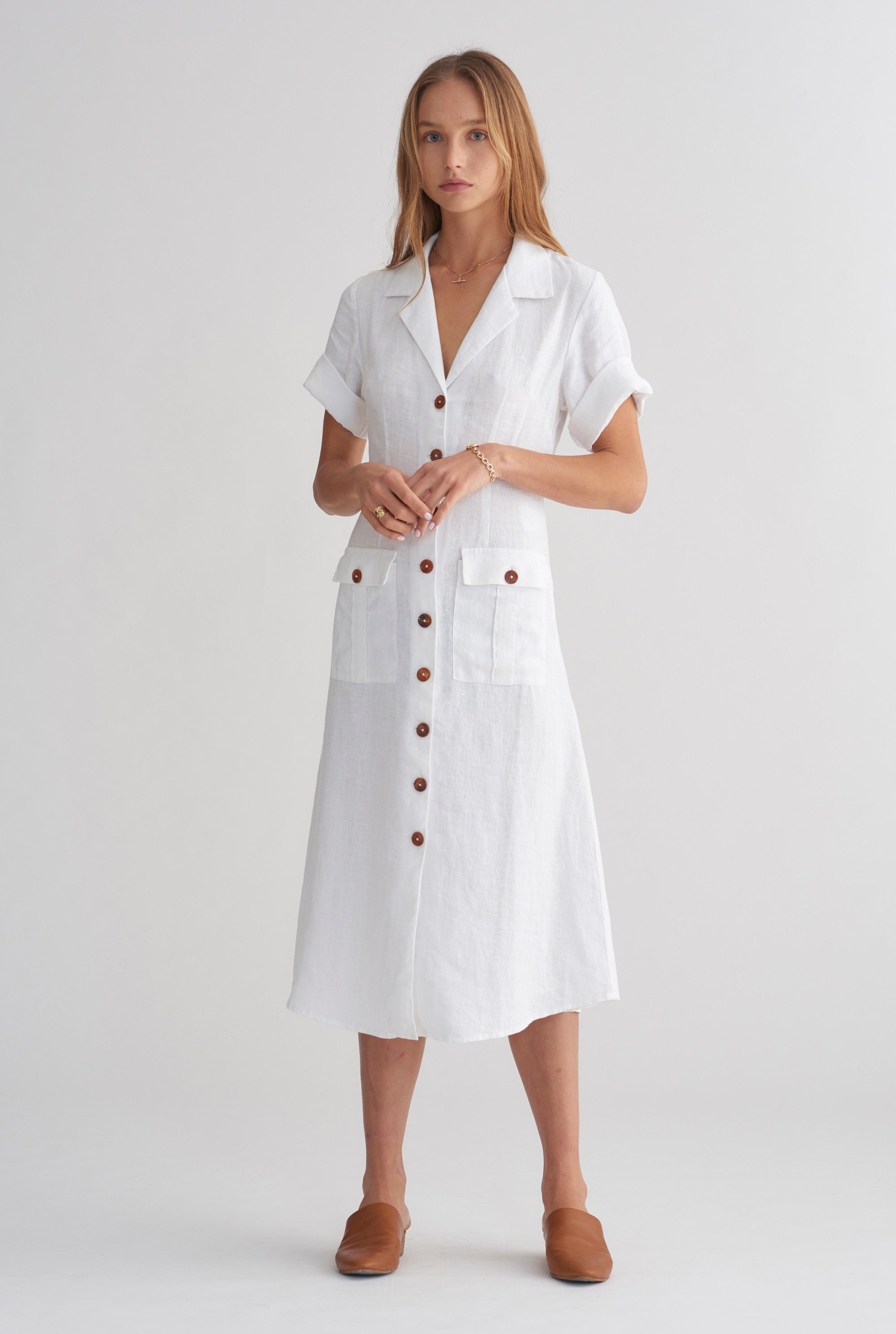 7f71f01d Pocket Shirt Dress - White