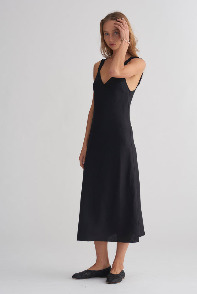 V Neck Bias Dress - Black