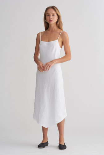 Linen Bias Dress - White