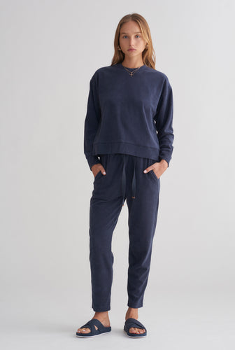 Terry Towel Sweater - Navy