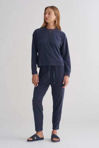 Terry Towel Lounge Pant - Navy