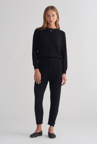 Exposed Seam Cashmere Raglan - Black