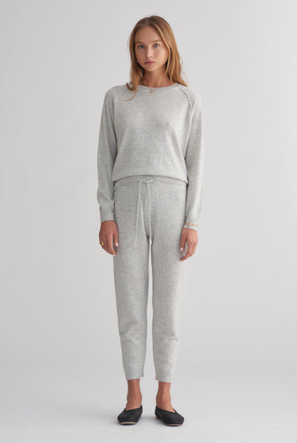 Exposed Seam Cashmere Raglan - Grey Marl