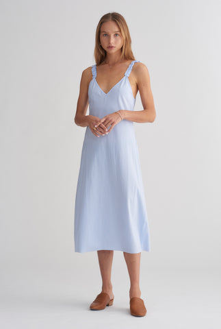 V Neck Bias Dress - Light Blue/White Stripe