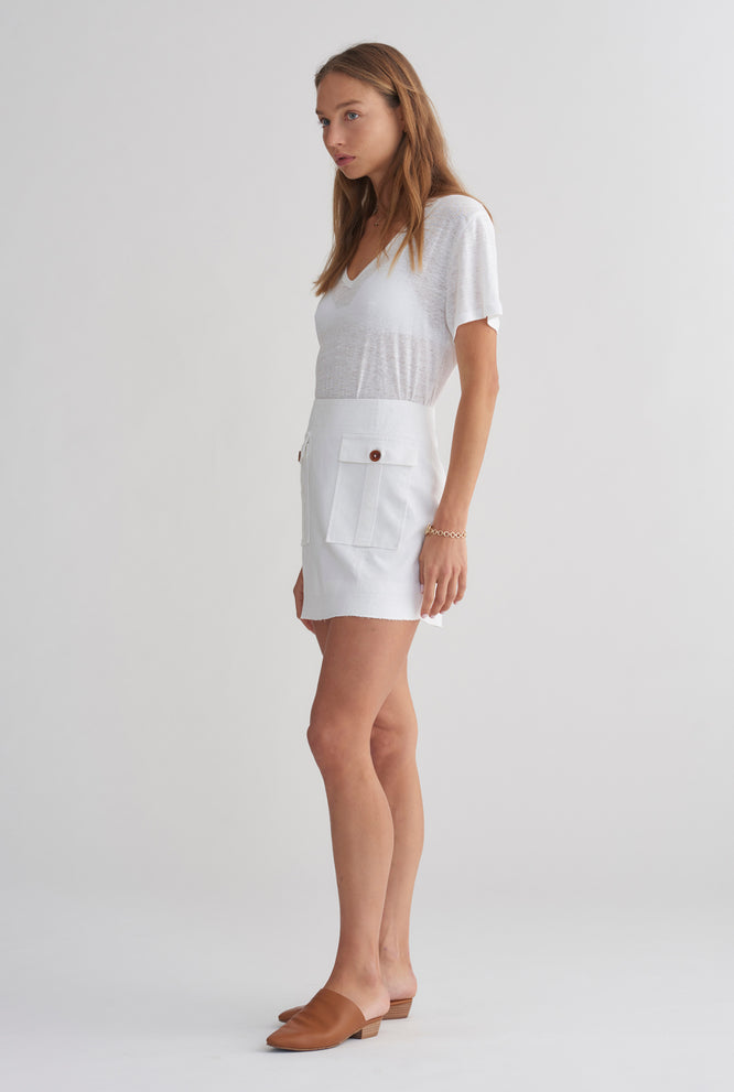 Pocket Mini Skirt - White