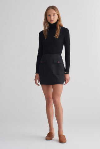 Patch Pocket Mini Skirt - Black