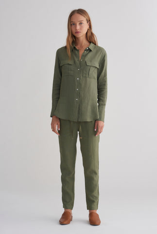 Womens Pocket Shirt - Army Green