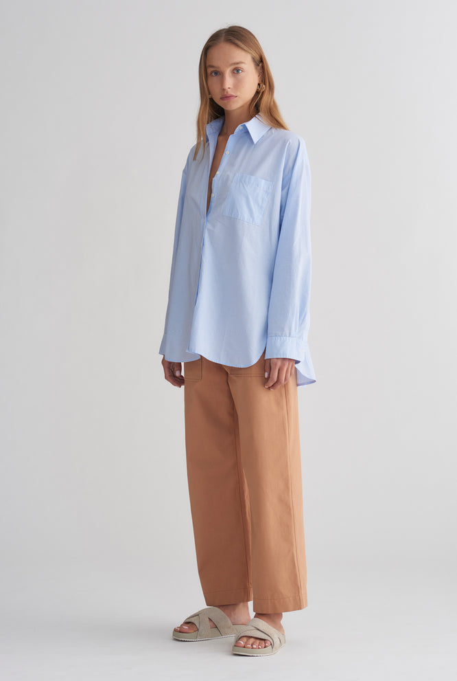 Oversized Poplin Shirt - Light Blue/White Stripe