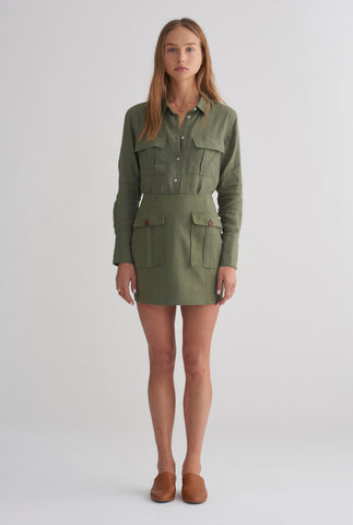Patch Pocket Mini Skirt - Army Green