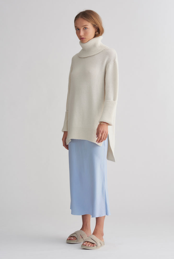 Chunky Cashmere Roll Neck - Milk