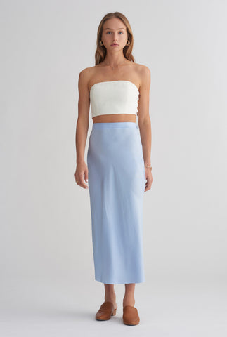 Long Line Silk Bias Skirt - Sky