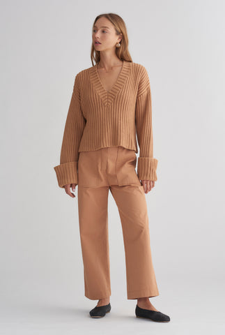 Chunky V Neck Sweater - Biscuit