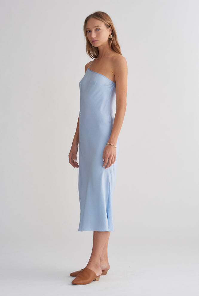 One Shoulder Silk Bias Dress - Sky