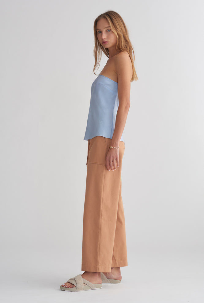 One Shoulder Bias Silk Top - Sky