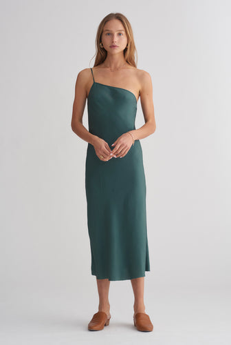 One Shoulder Silk Bias Dress - Forest