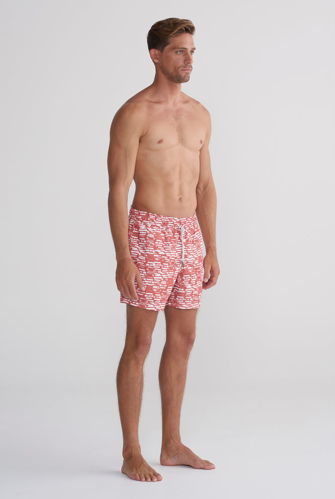 Swim Short - Rust Brush Print