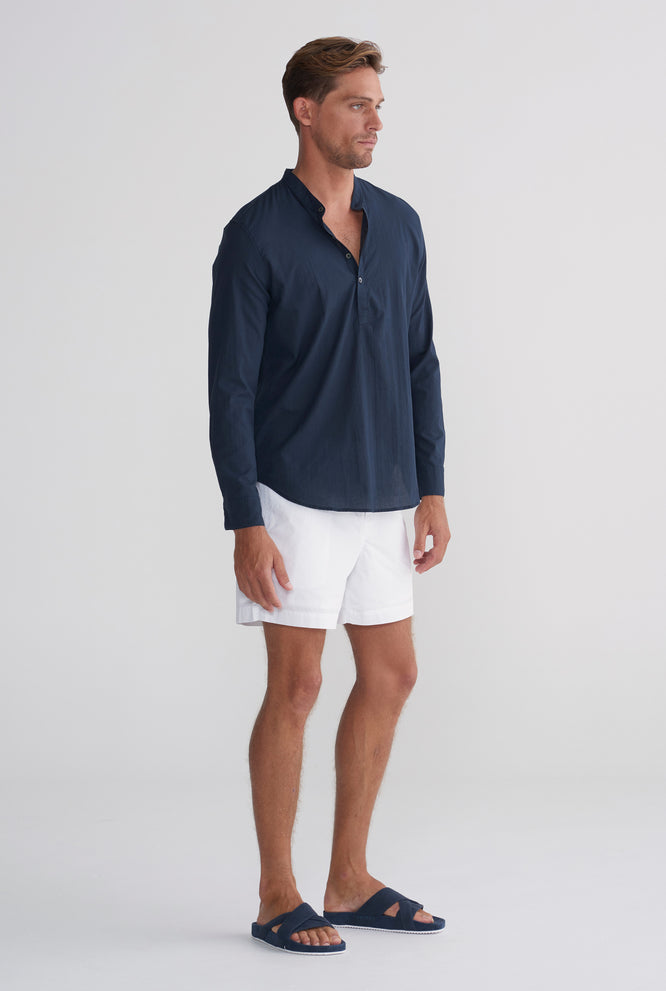 Pop Over Poplin Shirt - Navy