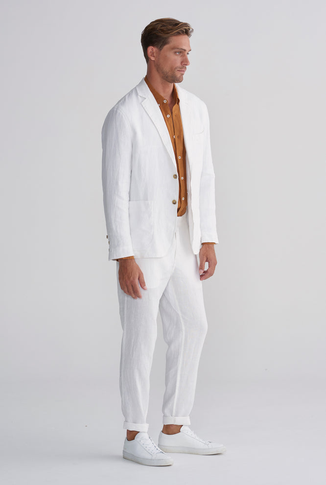 UNSTRUCTURED LINEN BLAZER - WHITE