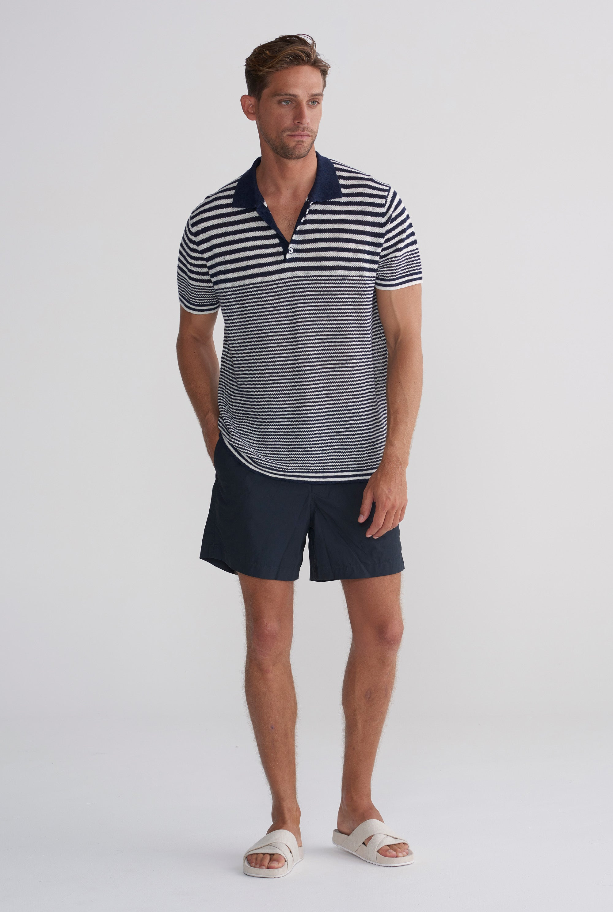 Knitted Polo - Navy/Ivory Stripe