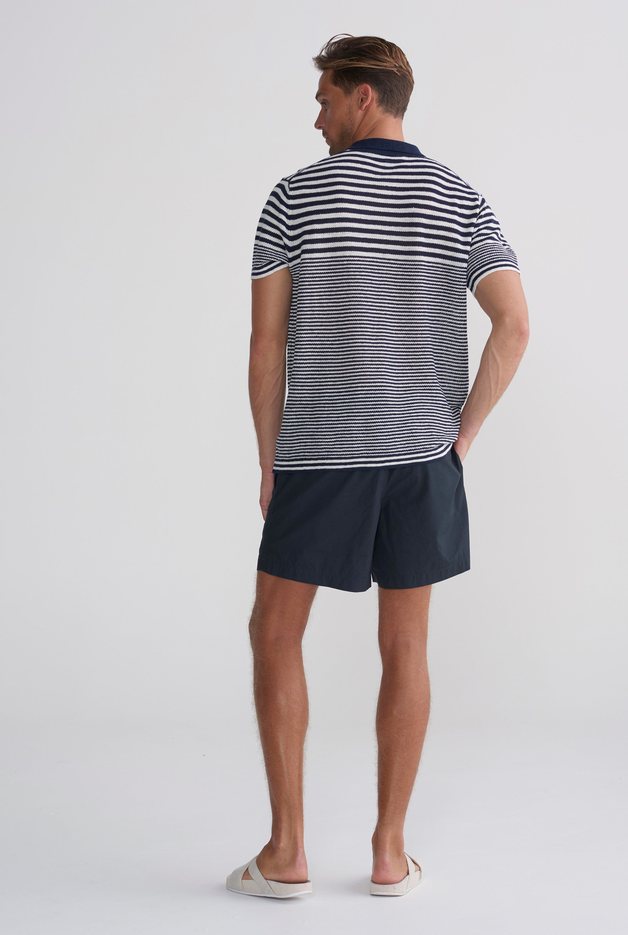 eee7c1aad Knitted Polo - Navy Ivory Stripe – VENROY