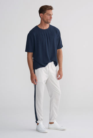 Lounge Chino - Stone / Navy Stripe