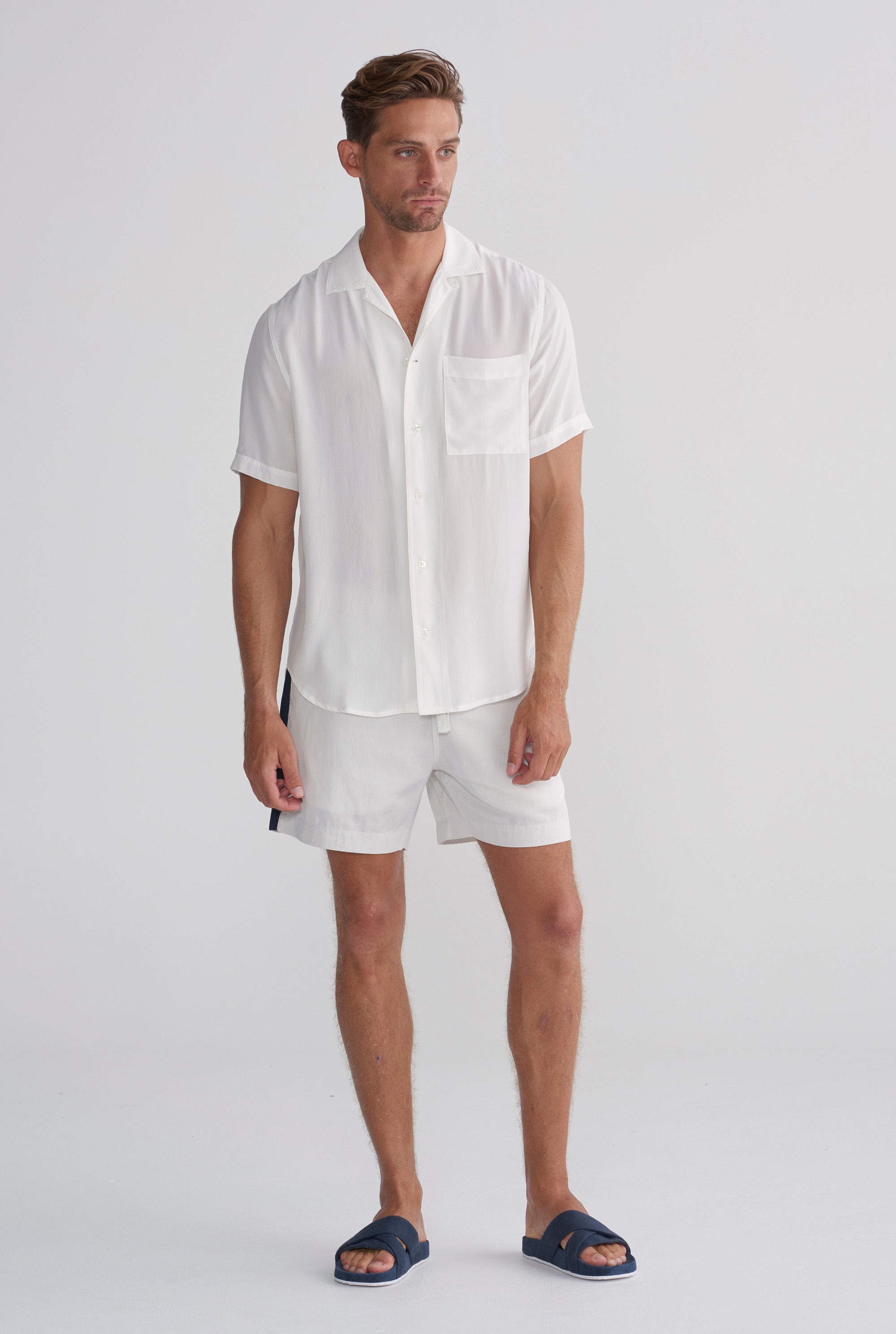 Silk Short Sleeve Shirt - Shell