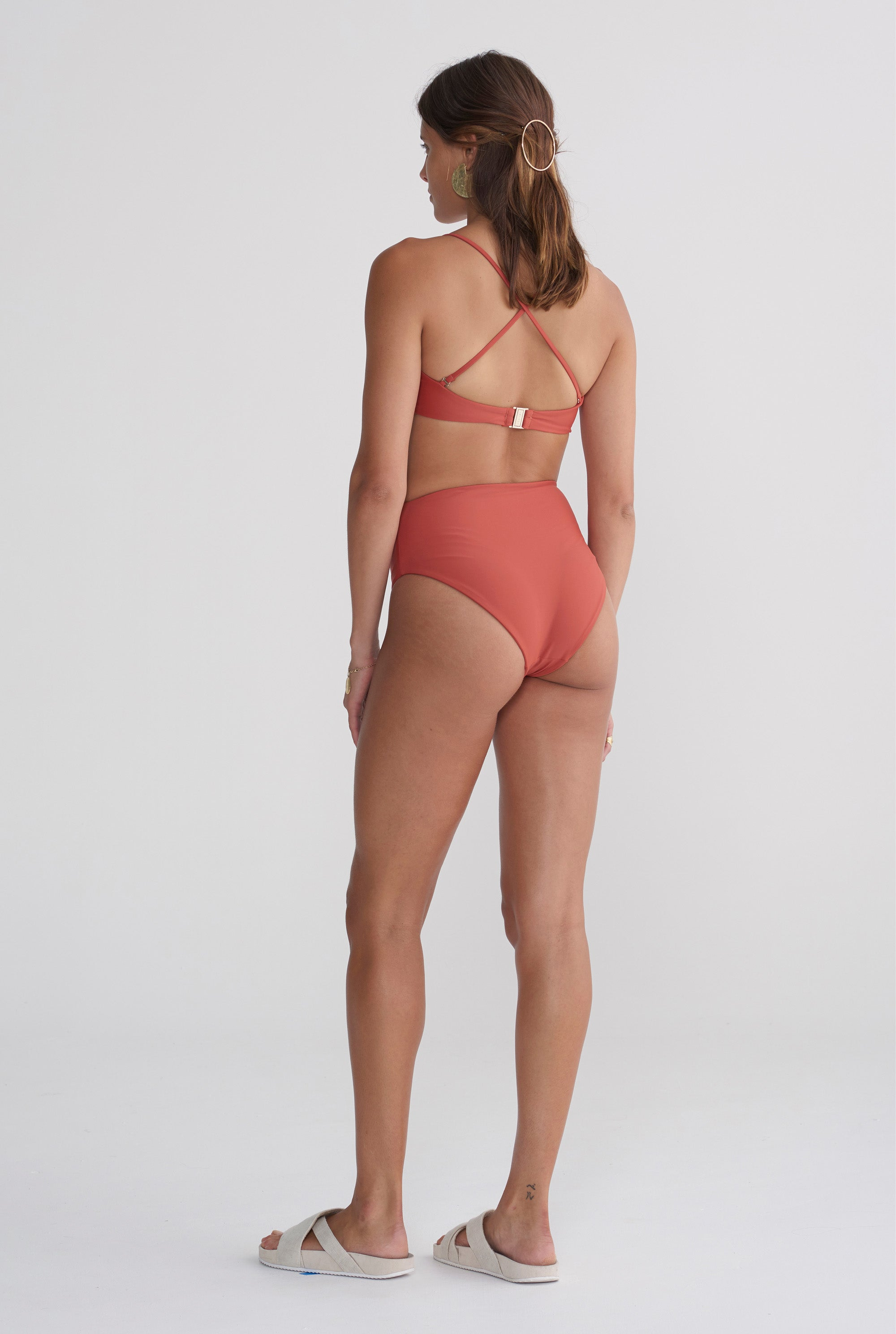 Womens High Waisted Bottom - Rust