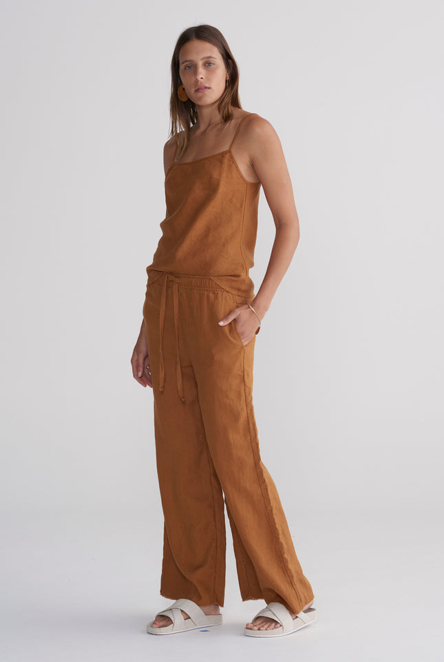 Relaxed Wide Leg Pant - Tobacco