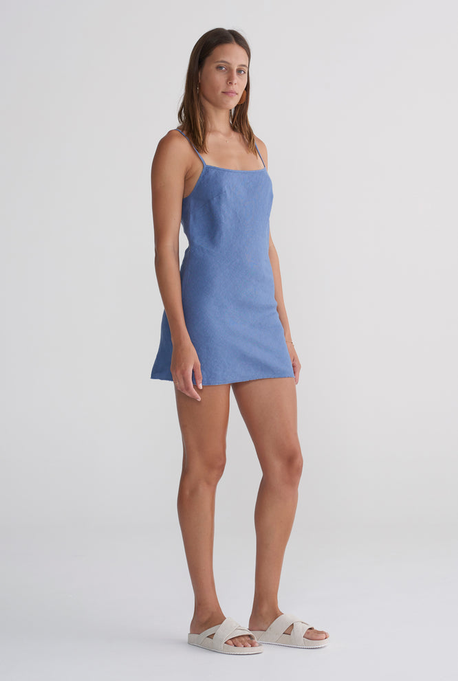 Mini Bias Dress - Marine Blue