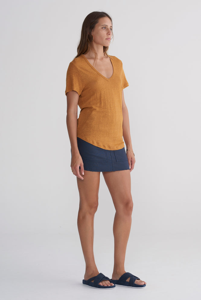 Scoopneck T Shirt - Tobacco