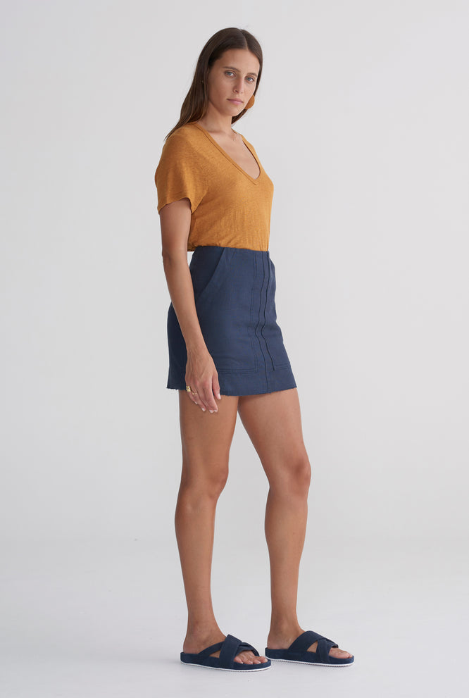 Womens Pocket Mini Skirt - Navy