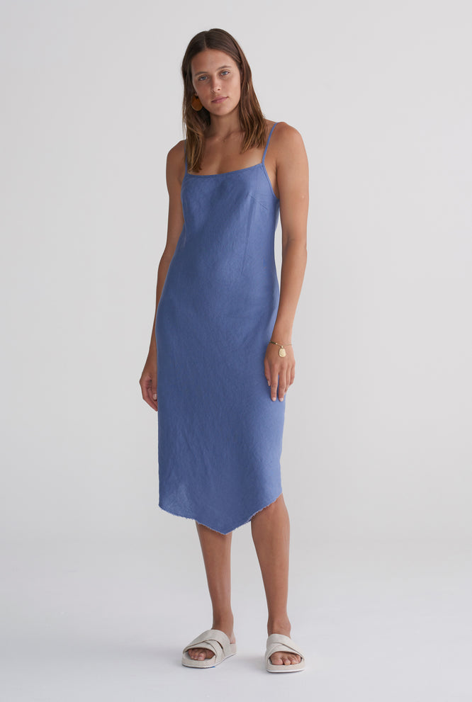 Linen Bias Dress - Navy