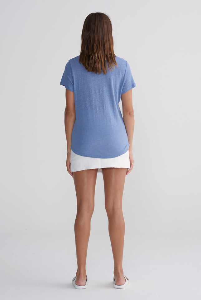 Womens Crewneck T Shirt - Marine Blue