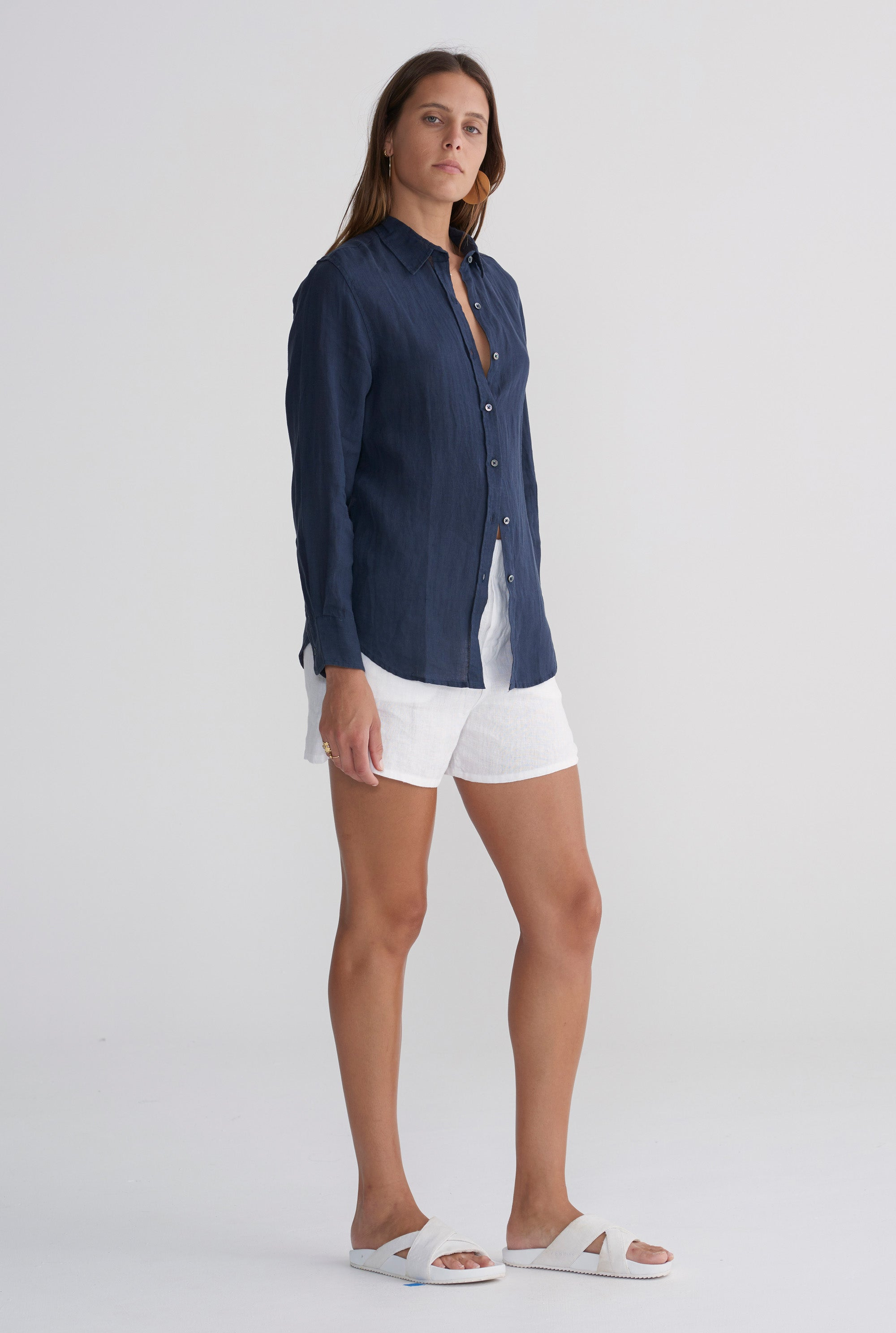 WOMENS SLIM SHIRT - NAVY