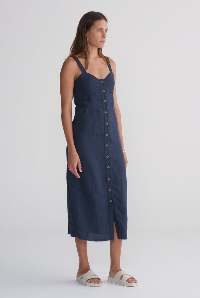 Button Front Dress - Navy