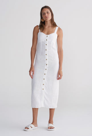 Button Front Dress - White