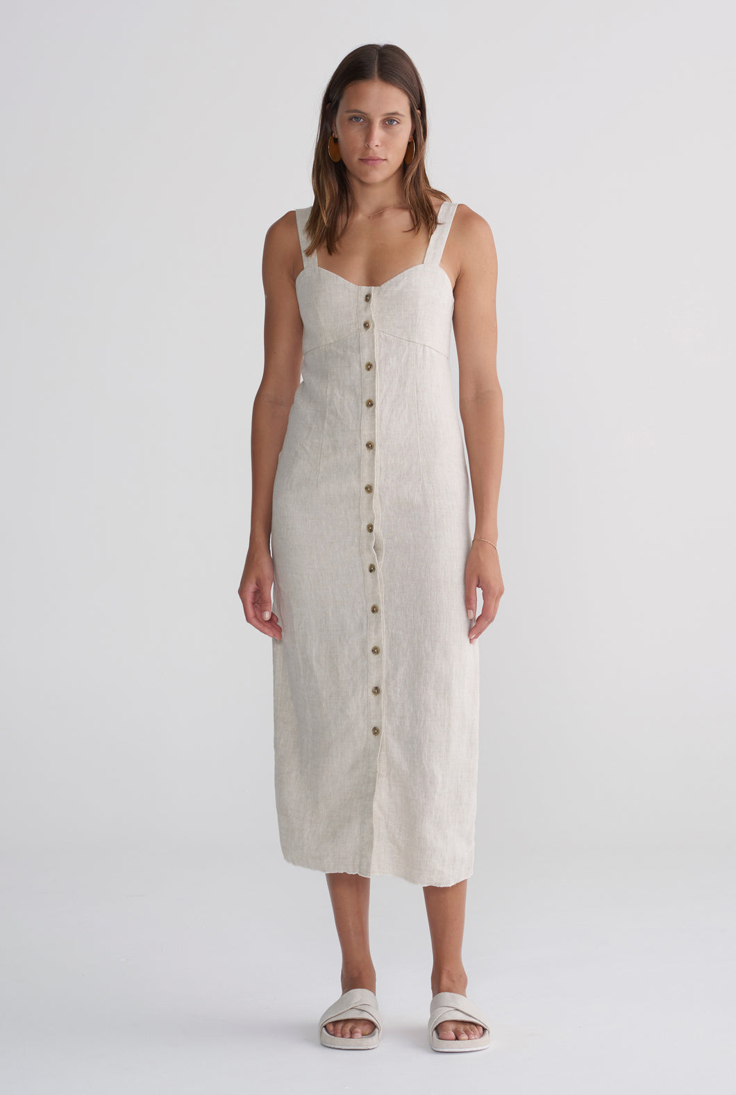 Button Front Dress - Sand