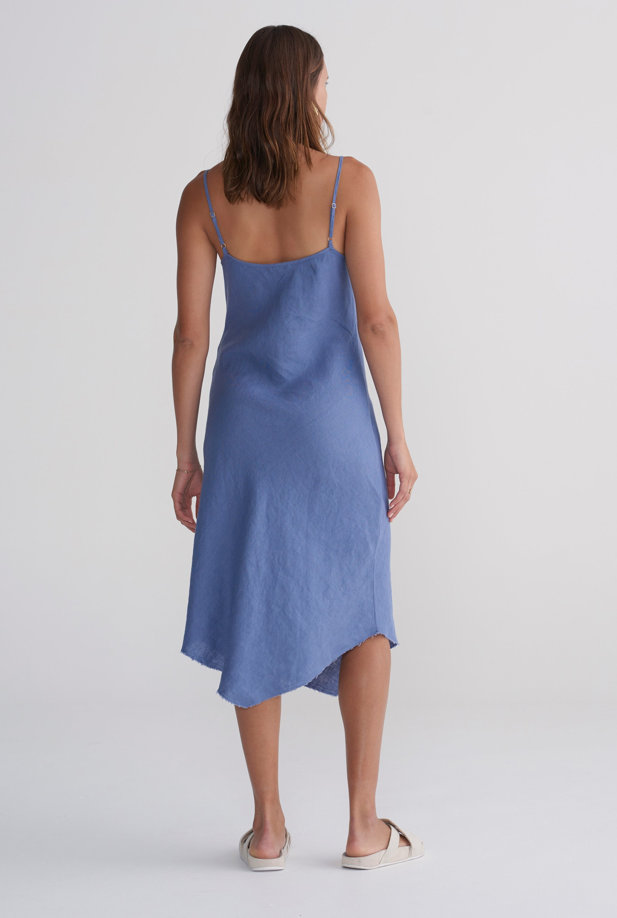 Linen Bias Dress - Marine Blue