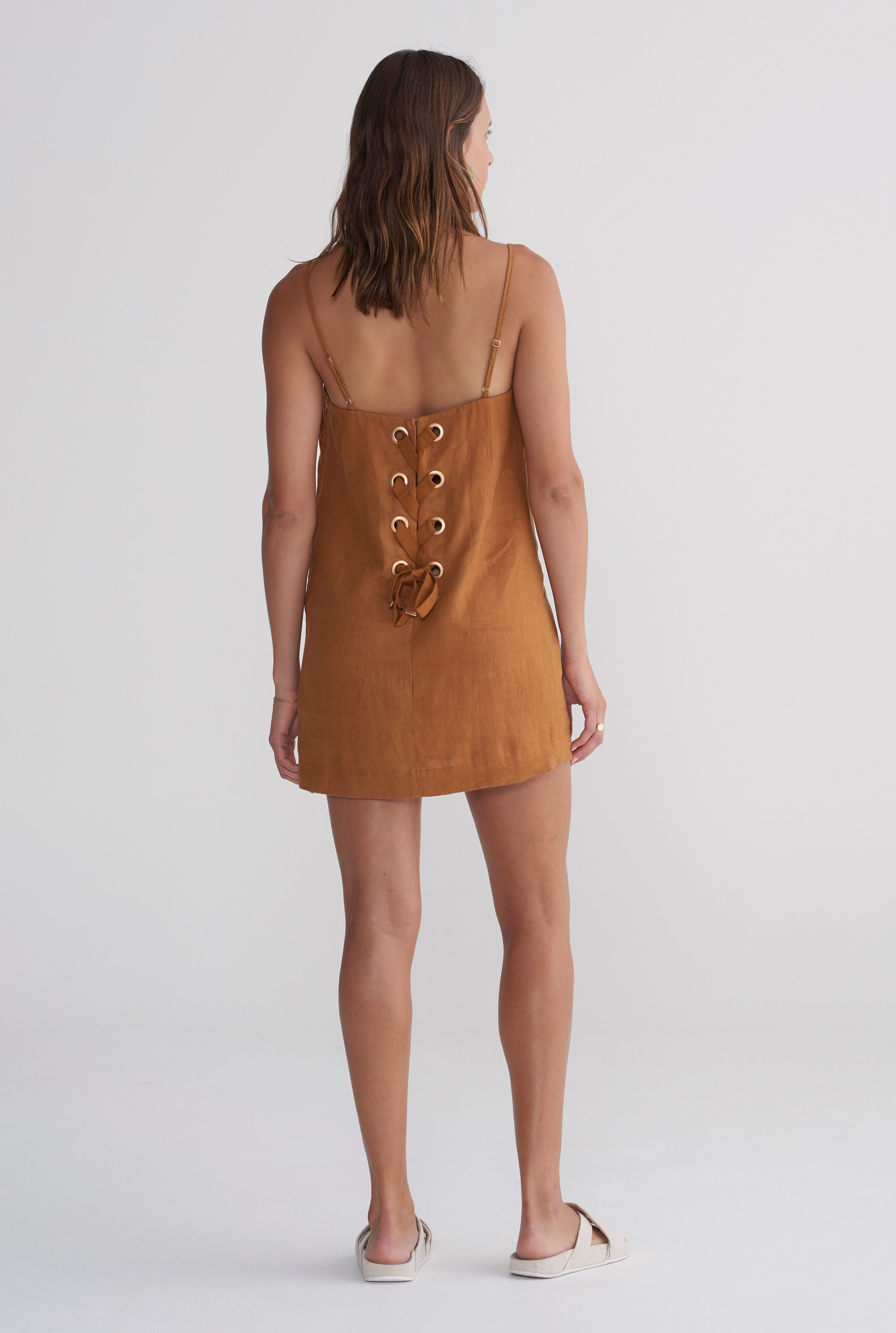 Lace Up Dress - Tobacco