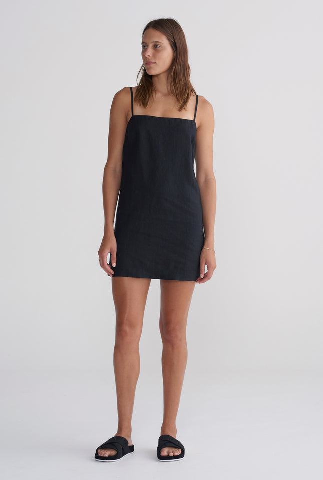 Lace Up Dress - Black