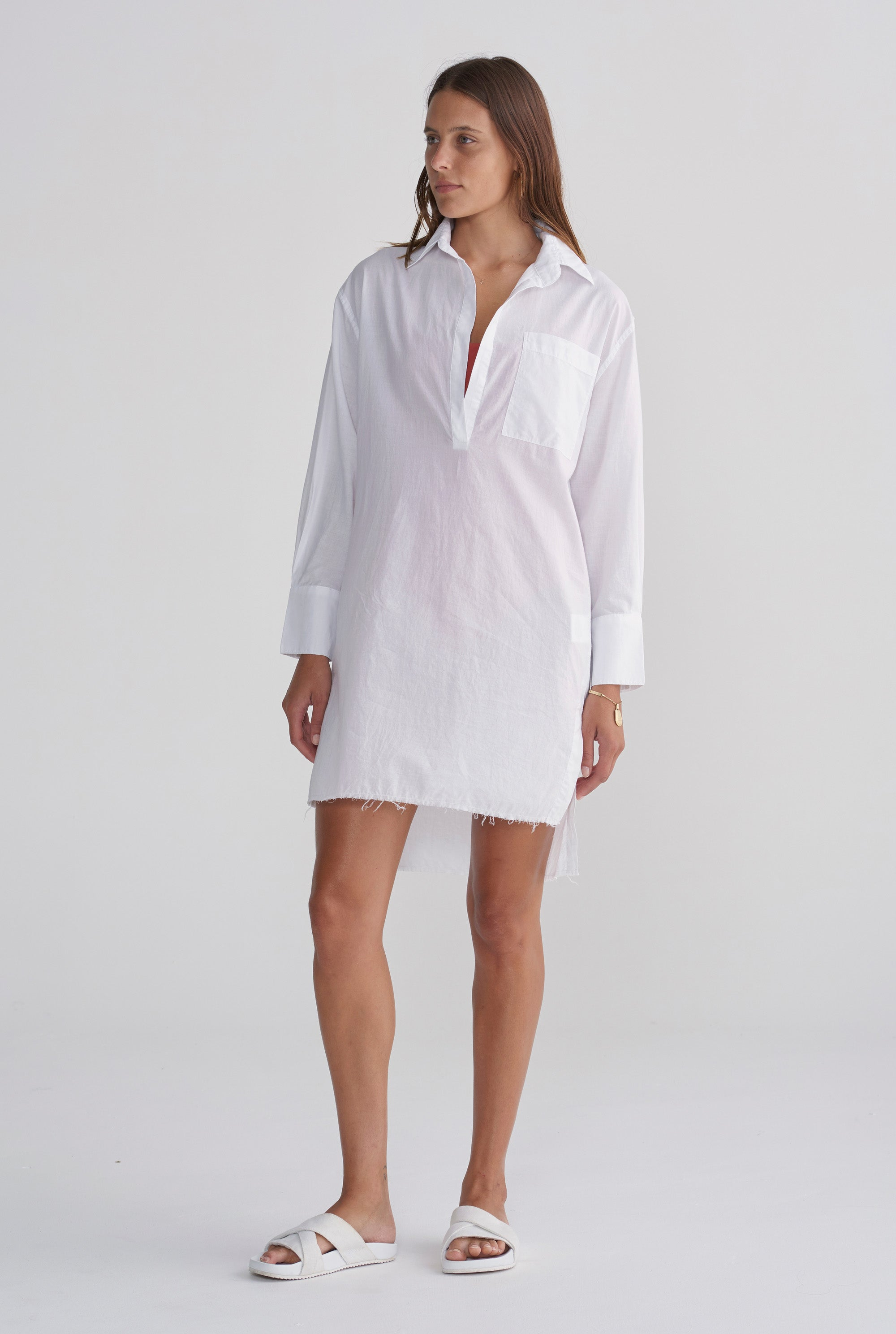 Pop Over Poplin Dress - White