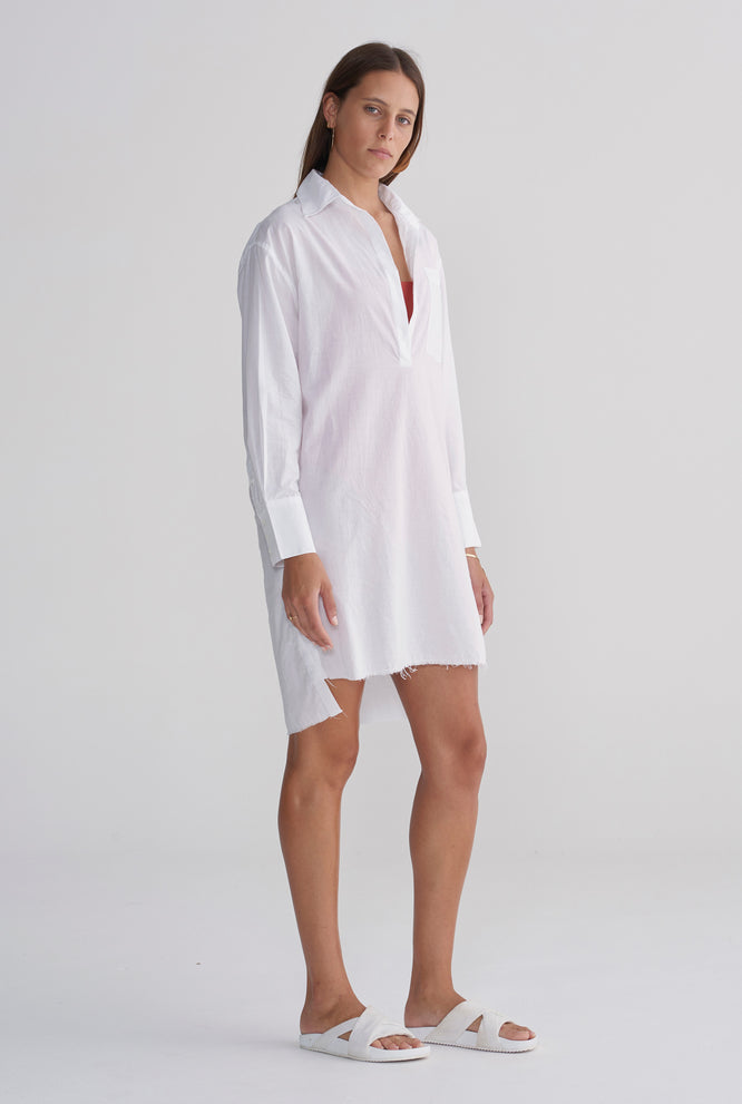 Womens Pop Over Poplin Dress - White