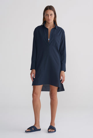 Womens Pop Over Poplin Dress - Navy
