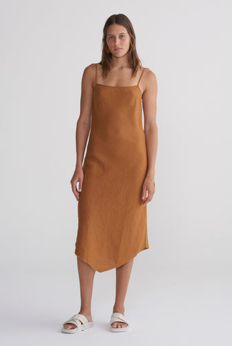 Linen Bias Dress - Tobacco