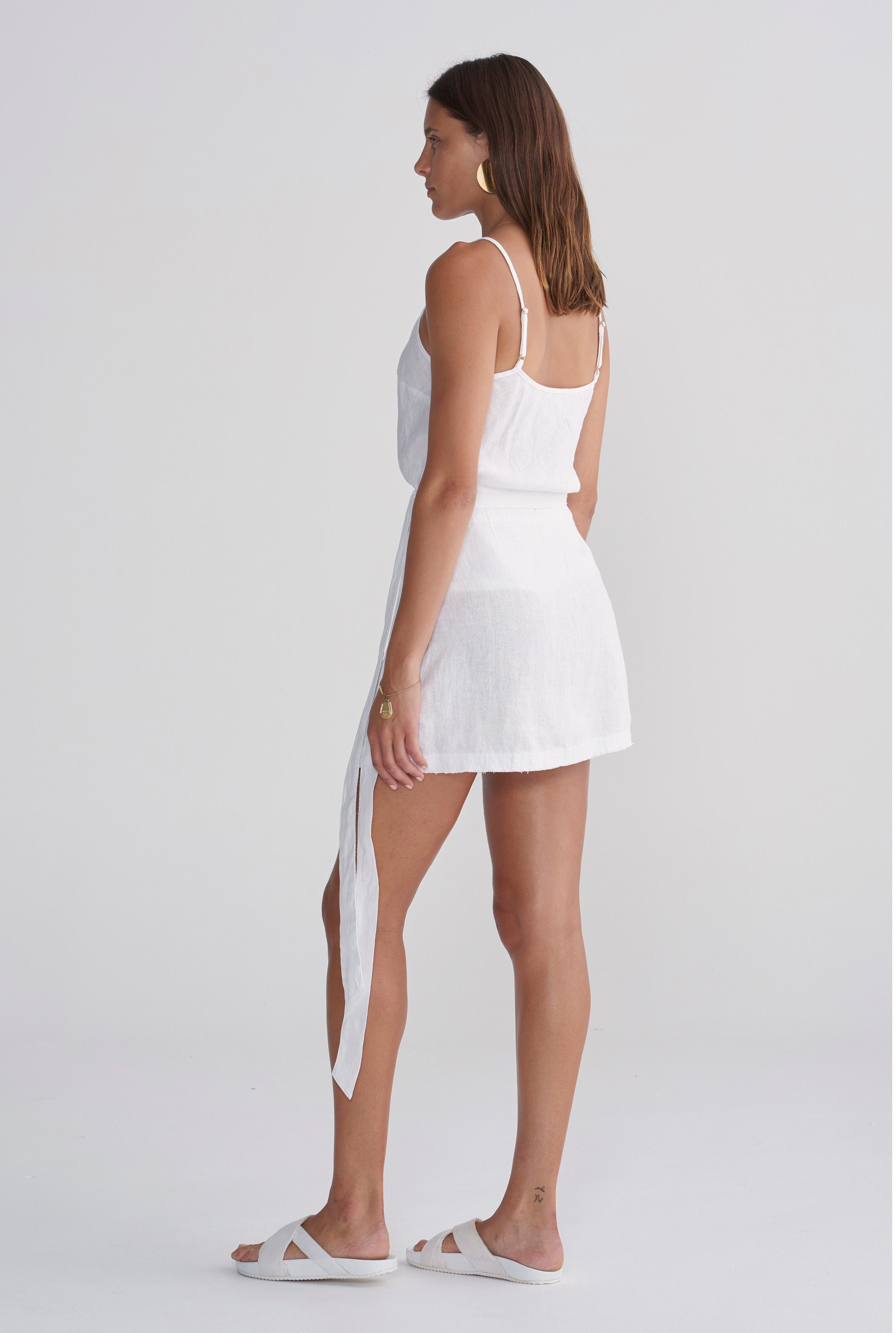 Womens Mini Wrap Skirt - White