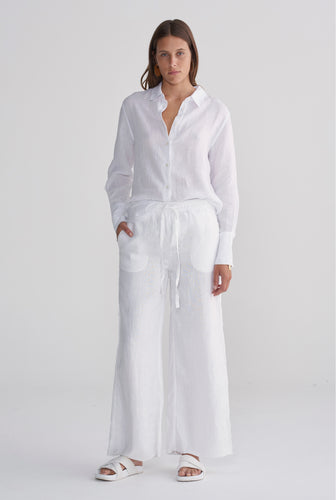 Relaxed Wide Leg Pant - White