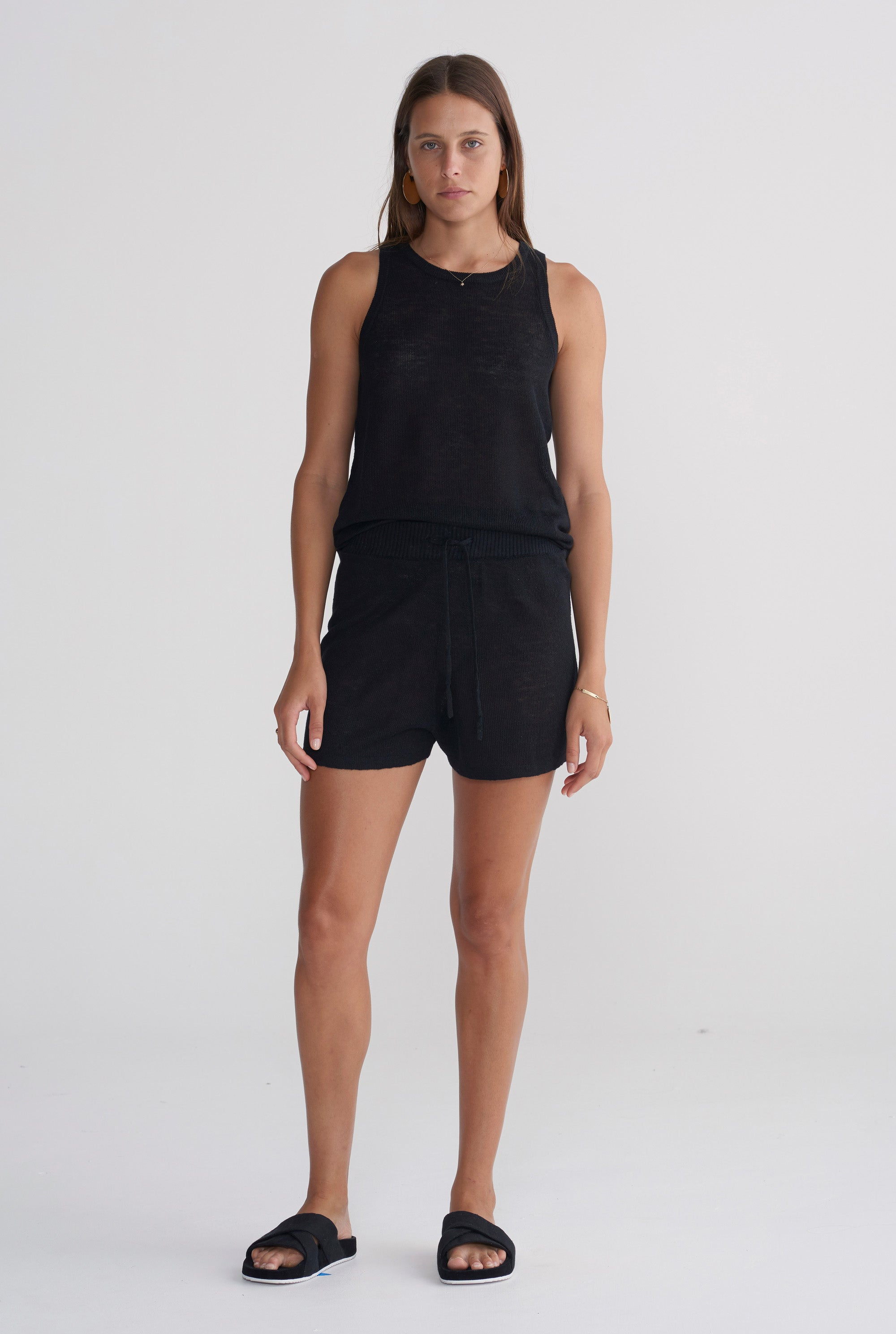 Womens Knitted Tank - Black