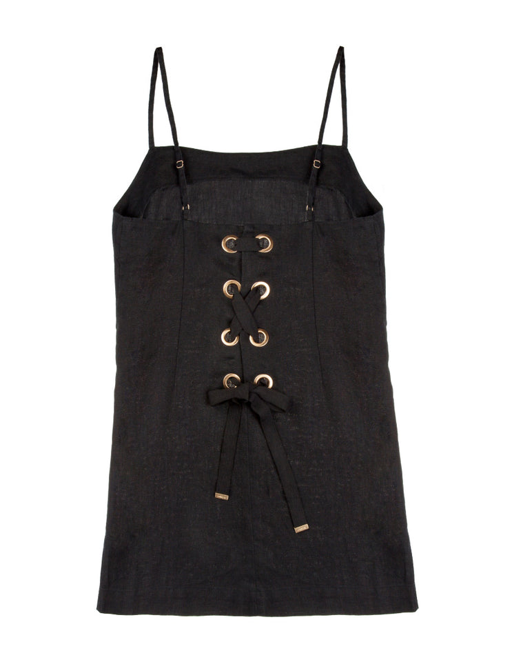 Womens Lace Up Lounge Dress - Black